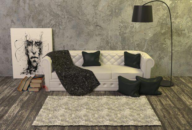 Salon inspirowany sztuką współczesną